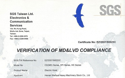 Electric Hoist CE Certificate