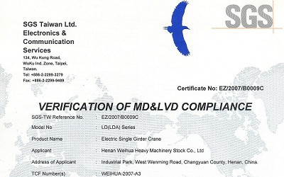 Single Girder CE Certificate