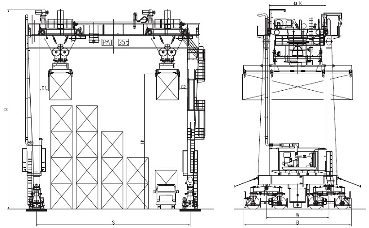 Rubber-tyred Container Gantry Crane Sketch