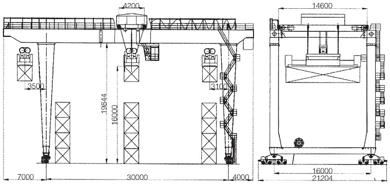 Rail-mounted Container Gantry Crane Sketch