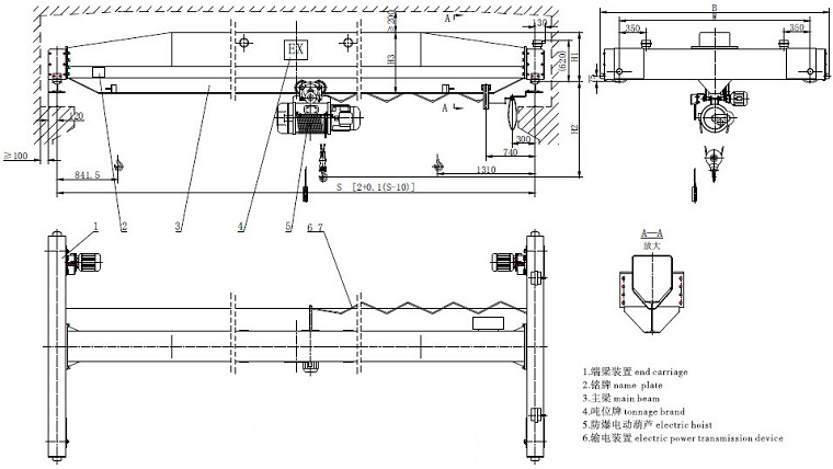 Explosion-proof Single Girder Crane Sketch