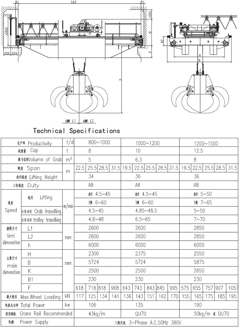 Garbage grab crane Technical Sketch and Technical Parameter