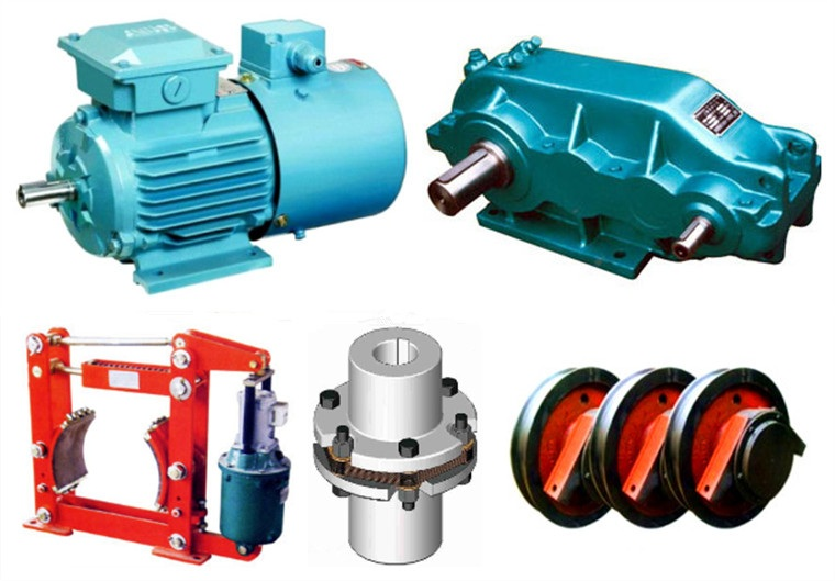 Motor, Reducer, Brake, Coupling, Wheels
