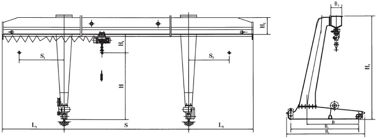 L-type Electric Hoist Gantry Crane Sketch