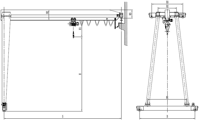 A-type single girder Semi-Gantry Crane Sketch