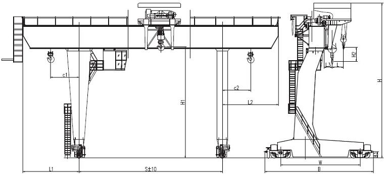 L-type Gantry Crane Sketch